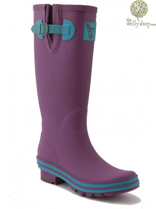EVERCREATURES EGGPLANT OBSESSION PURPLE WITH BLUE TRIM WELLINGTON BOOTS