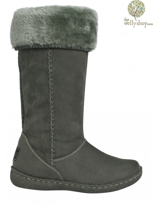 Pixie Holly Boots Grey Turned Down