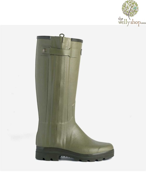 Le Chameau Chasseur Rubber Boots Italian Leather Lined Wellingtons Full Length Zip