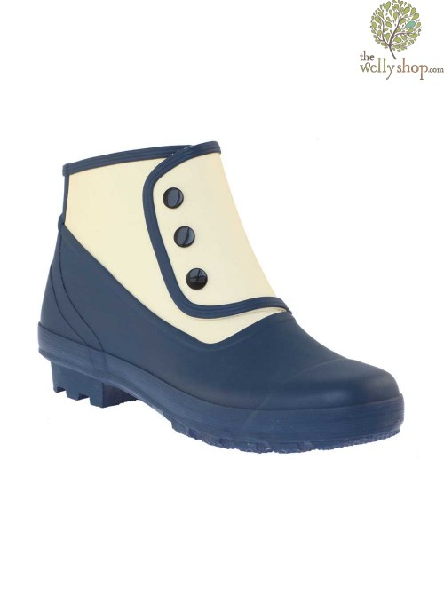 """DISCONTINUED - """"Grace Kelly"""" Spats - Blue and White Vintage Style Wellies"""