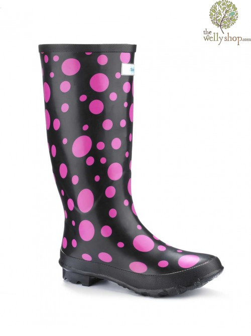 Miss Outgoing Pink Bubbles Wellies (wide calf)