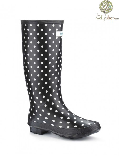 Miss Chic White Spot Splash Wellies (wide fit)