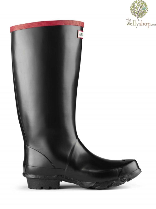 Hunter Argyll Black Welly Full Knee Wide Calf Rubber Boots