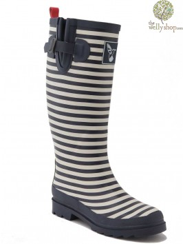 EVERCREATURES BRISTOL NAVY AND WHITE STRIPE WELLINGTON BOOTS