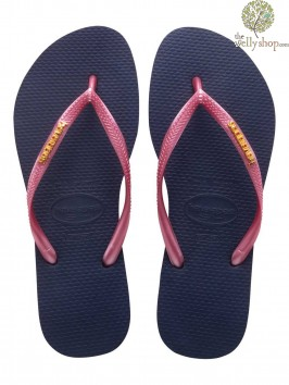 HAVAIANAS SLIM LOGO FLIP FLOPS (AVAILABLE IN UK SIZES EU35/36 - EU39/40)