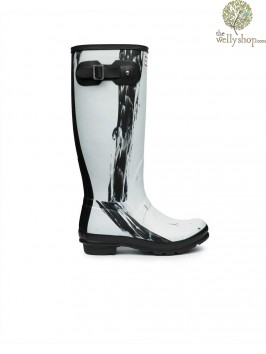 Hunter Tall Original Nightfall Black and White Wellington Boots