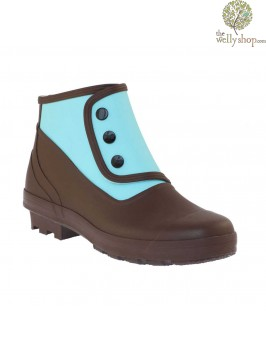 "New ""Greta Garbo"" Spats - Chocolate and Sky Vintage Style Wellies"