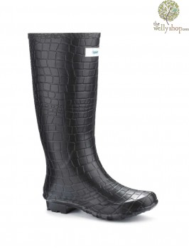 Miss Snappy Black Croc Splash Wellies (wide fit)