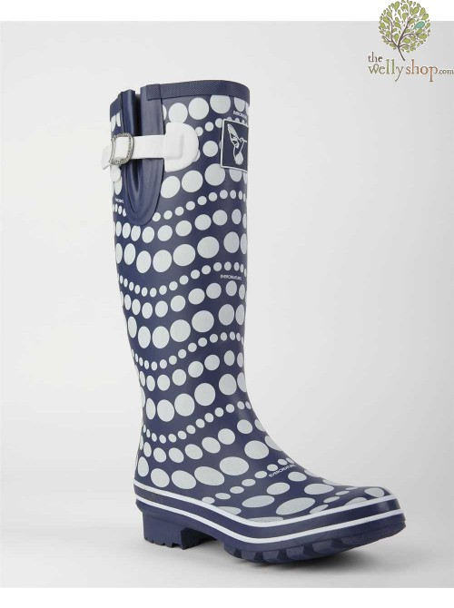 EVERCREATURES DANCING DOTS NAVY AND WHITE WELLINGTON BOOTS
