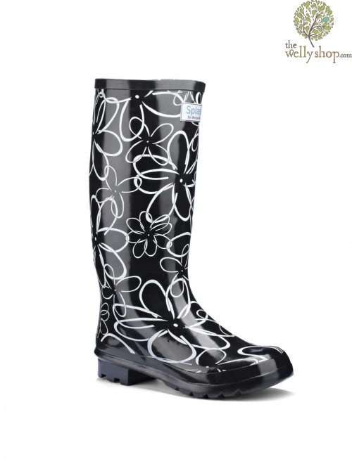 Miss Floral Black and White (wide calf)