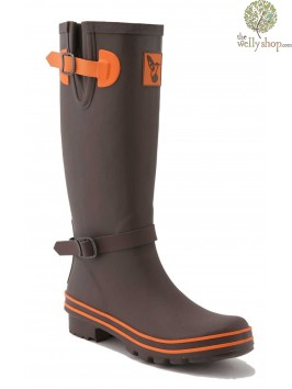EVERCREATURES TERRACOTTA BROWN WITH ORANGE TRIM WELLINGTON BOOTS