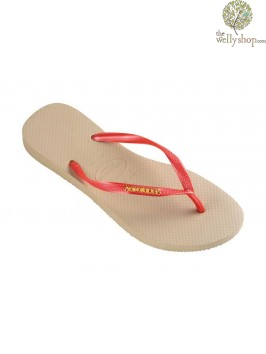 HAVAIANAS SLIM LOGO METALLIC FLIP FLOPS (AVAILABLE IN UK SIZES EU35/36 - EU39/40)