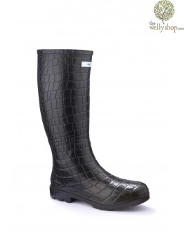 Miss Snappy Black Croc Splash Wellies (standard fit)