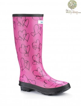 Miss Lovely Pink Hearts Festival Wellies (wide fit)