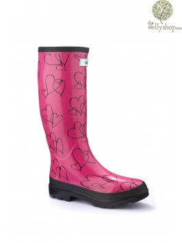 Miss Lovely Pink Hearts Splash Wellies (standard fit)