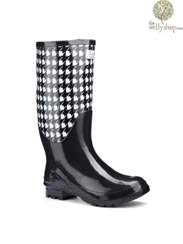 Miss Retro Black and White Wellies (wide calf)